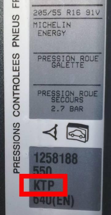 Plaque code peinture Peugeot